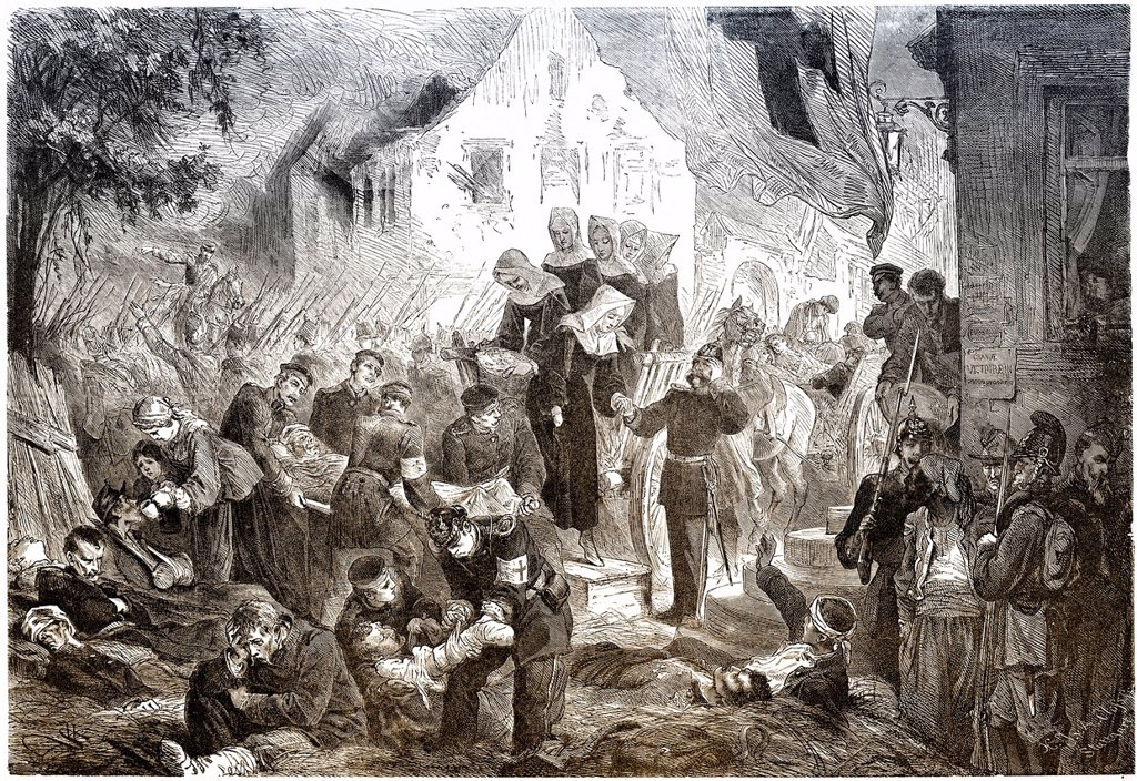 Historical drawing, caring for the injured in a field hospital at Rezonville, France, after the Battle of Gravelotte on 16 August 1870, Franco_Prussian War or Franco_German War 1870_1871, between the French Empire and the Kingdom of Prussia : Stock Photo