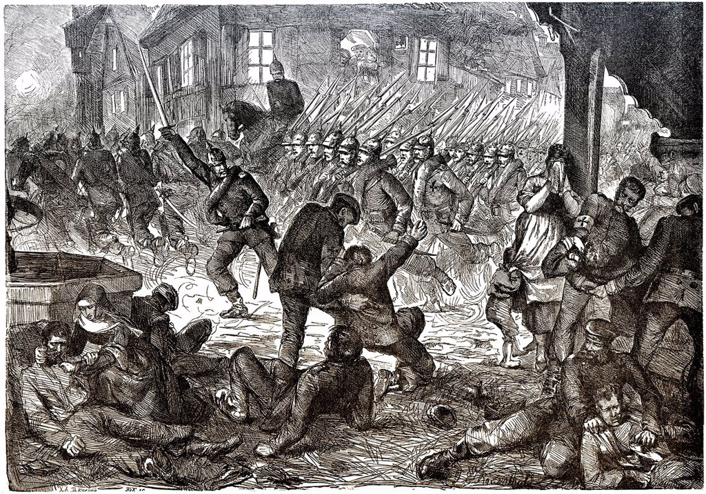 Historical drawing, scene from the Battle of Gravelotte on 16 August 1870, Franco_Prussian War or Franco_German War 1870_1871, between the French Empire and the Kingdom of Prussia : Stock Photo