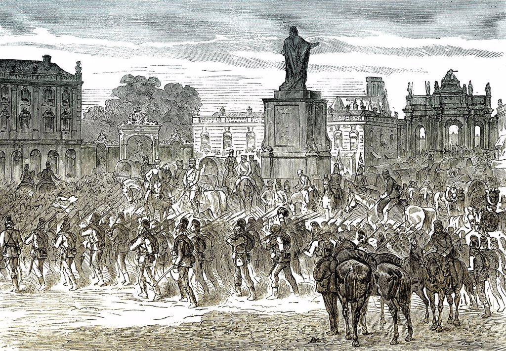 Stock Photo: 1848-729387 Historical drawing, German troops enter Nancy, France, 15 August 1870, scene from the Franco_Prussian War or Franco_German War 1870_1871, between the French Empire and the Kingdom of Prussia