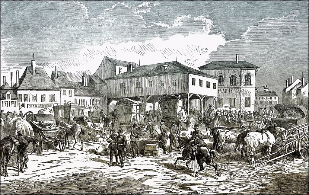 Stock Photo: 1848-729389 Historical drawing, army post being distributed by the Germans in a French town, scene from the Franco_Prussian War or Franco_German War 1870_1871, between the French Empire and the Kingdom of Prussia