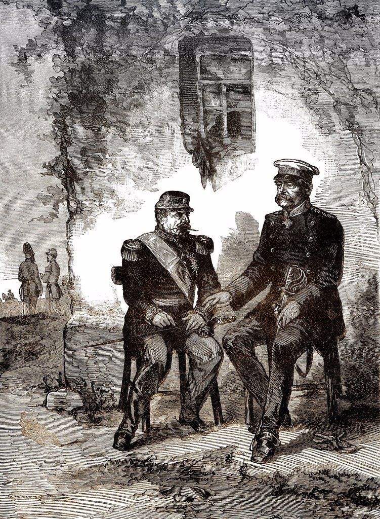 Historical drawing, meeting between Otto von Bismarck and Napoleon III to surrender on 2 September 1870, after the Battle of Sedan, in Donchery, Ardennes, France, scene from the Franco_Prussian War or Franco_German War 1870_1871, between the French Empire. Historical drawing, meeting between Otto von Bismarck and Napoleon III to surrender on 2 September 1870, after the Battle of Sedan, in Donchery, Ardennes, France, scene from the Franco_Prussian War or Franco_German War 1870_1871, between the F : Stock Photo