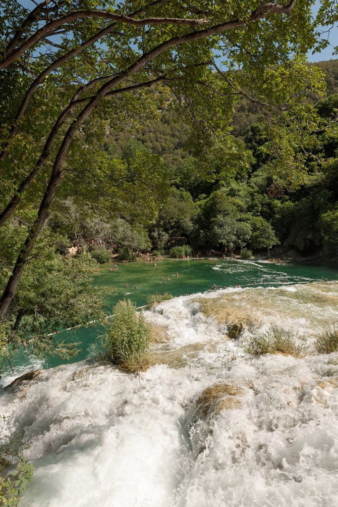 Stock Photo: 1848-729475 Bathers below a waterfall, Krka National Park, Croatia, Southern Europe, Europe