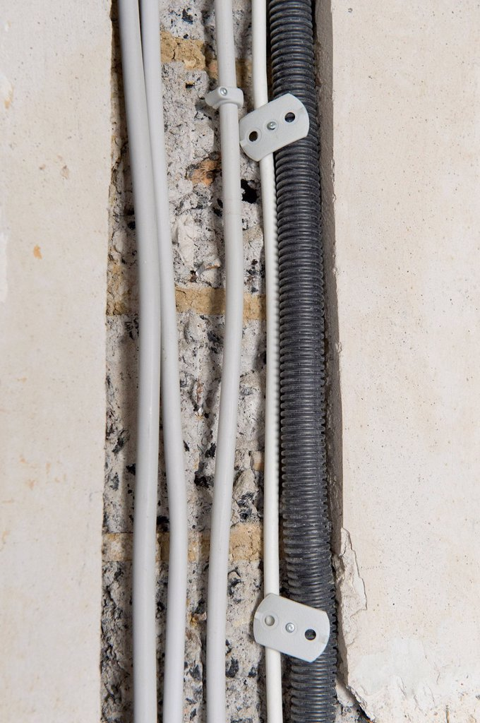 Stock Photo: 1848-729766 Electric cables laid in a cable canal to be flush under plaster in an old building, Stuttgart, Baden_Wuerttemberg, Germany, Europe