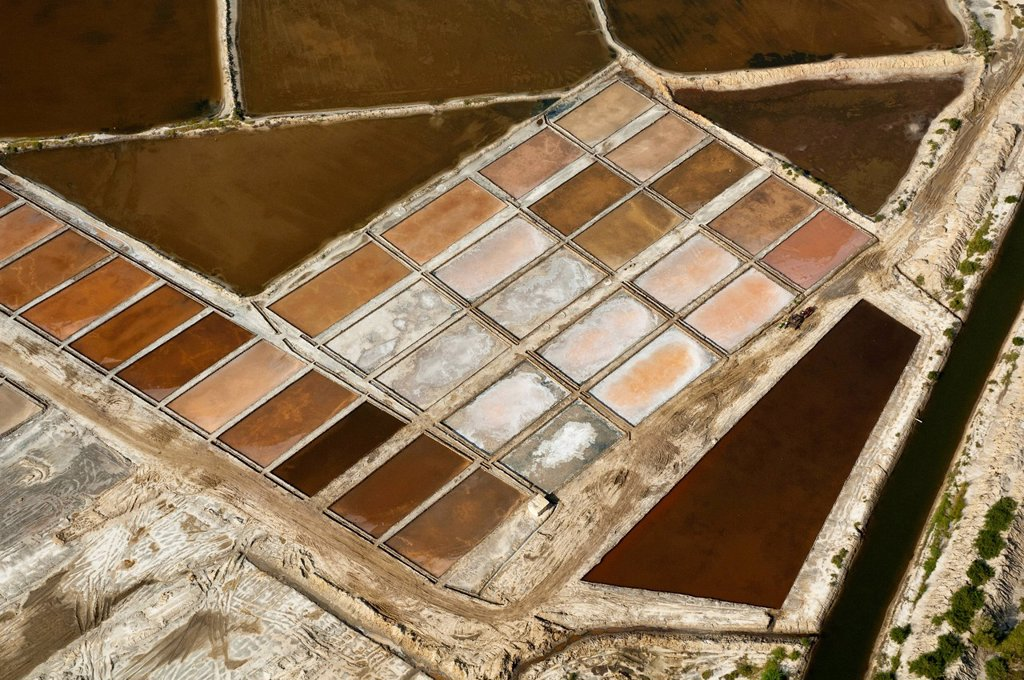 Stock Photo: 1848-730173 Aerial view, evaporation pans at Nunge salt works, Bagamoyo, Pwani Region, Tanzania, Africa