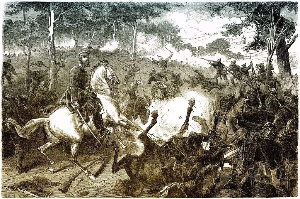 Historical drawing, Friedrich Wilhelm Ludwig IV, Grand Duke of Hesse and by Rhine, 1837_1892, during the Battle of Mars_la_Tour or Vionville, 16 August 1870, Franco_Prussian War or Franco_German War 1870_1871, between the French Empire and the Kingdom of. Historical drawing, Friedrich Wilhelm Ludwig IV, Grand Duke of Hesse and by Rhine, 1837_1892, during the Battle of Mars_la_Tour or Vionville, 16 August 1870, Franco_Prussian War or Franco_German War 1870_1871, between the French Empire and the  : Stock Photo