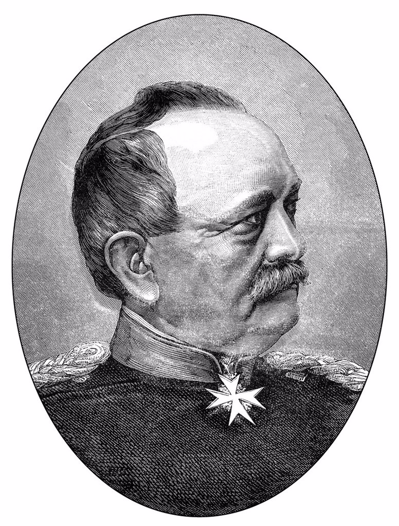 Historical drawing, portrait of Eduard Friedrich Karl von Fransecky or Franscky, 1807_1890, Prussian General of the infantry, Franco_Prussian War or Franco_German War 1870_1871, between the French Empire and the Kingdom of Prussia : Stock Photo
