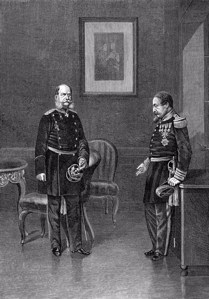 Stock Photo: 1848-730190 Historical drawing, the French Emperor Charles Louis_Napoléon Bonaparte or Napoleon III, 1808_1873, and King William I of Prussia, or after the Battle of Sedan, German Emperor William I, 2 September 1870, Château de Bellevue, Frenois, Franco_Prussian War. Historical drawing, the French Emperor Charles Louis_Napoléon Bonaparte or Napoleon III, 1808_1873, and King William I of Prussia, or after the Battle of Sedan, German Emperor William I, 2 September 1870, Château de Bellevue, Frenois, Franco_Pr
