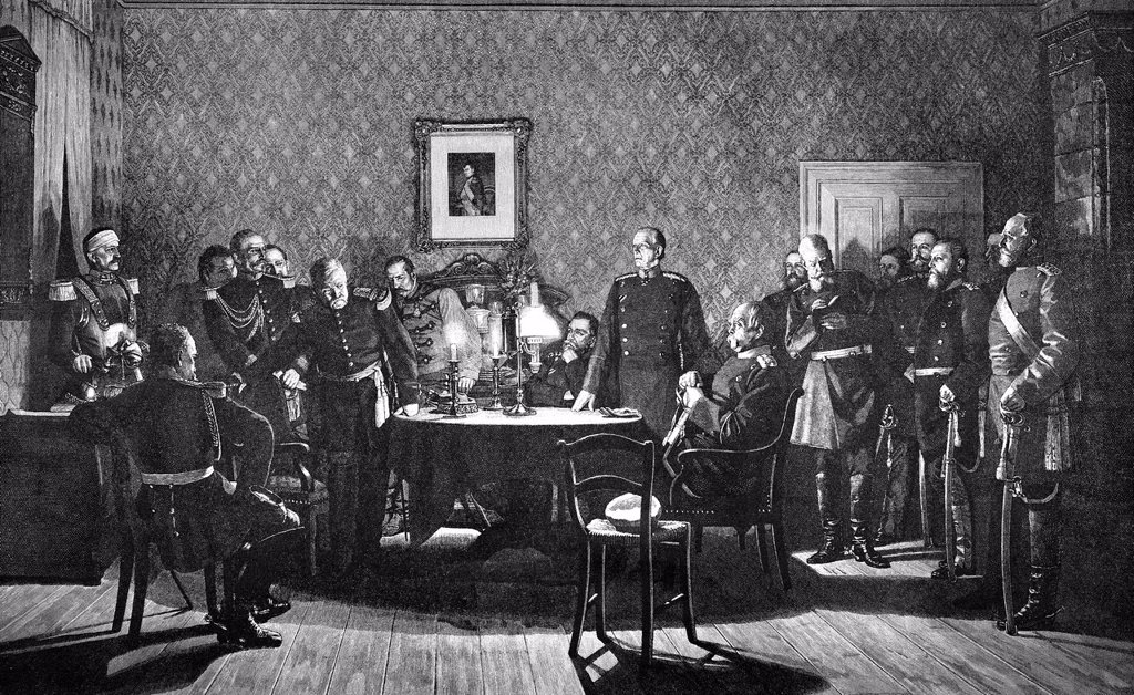 Stock Photo: 1848-730191 Historical drawing, negotiations for surrender with General Faure, Otto von Bismarck and others, 2 September 1870, scene from the Franco_Prussian War or Franco_German War 1870_1871, between the French Empire and the Kingdom of Prussia