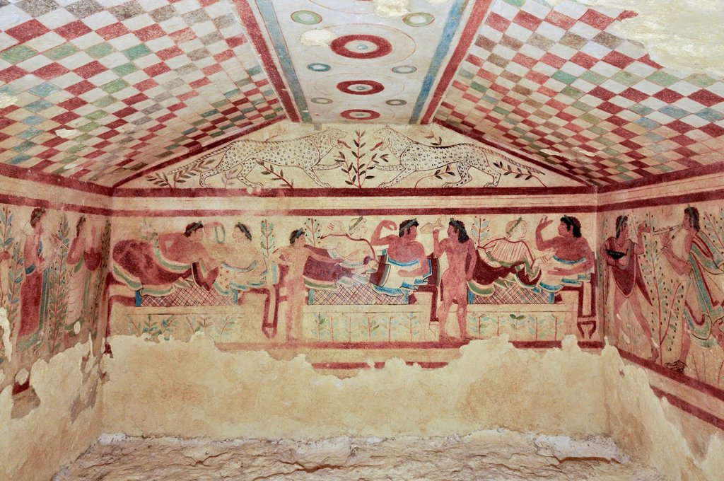 Stock Photo: 1848-730375 Frescoes, Tomba dei Leopardi, Tomb of the Leopards, one of the Etruscan grave chambers of Monterozzi Necropolis, 6th to 2nd century BC, Tarquinia, Lazio, Italy, Europe