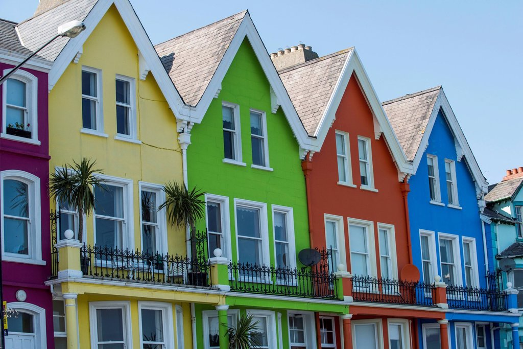 Colourful houses at the promenade of Whitehead, Northern Ireland, United Kingdom, Europe : Stock Photo