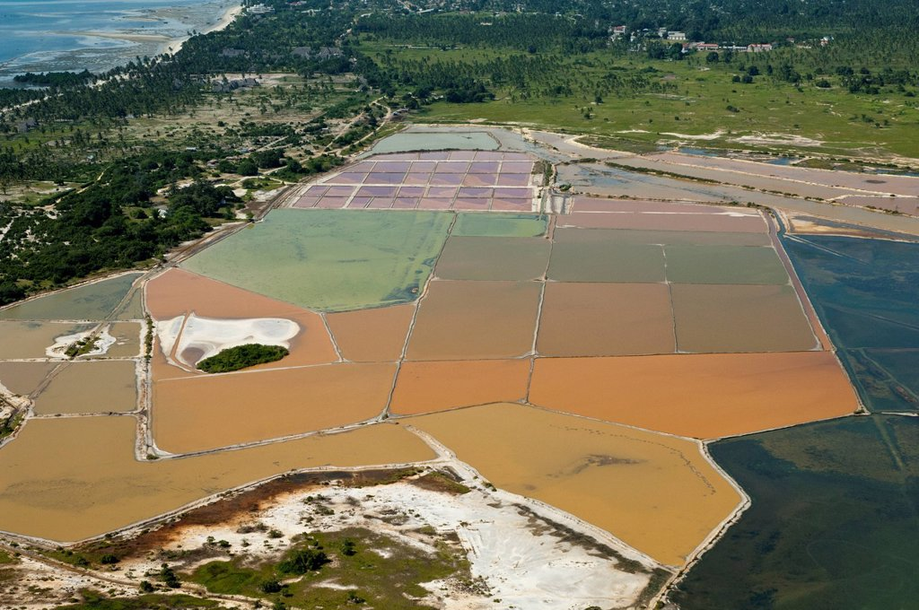 Stock Photo: 1848-731073 Aerial view, evaporation pans at Nunge salt works, Bagamoyo, Pwani Region, Tanzania, Africa