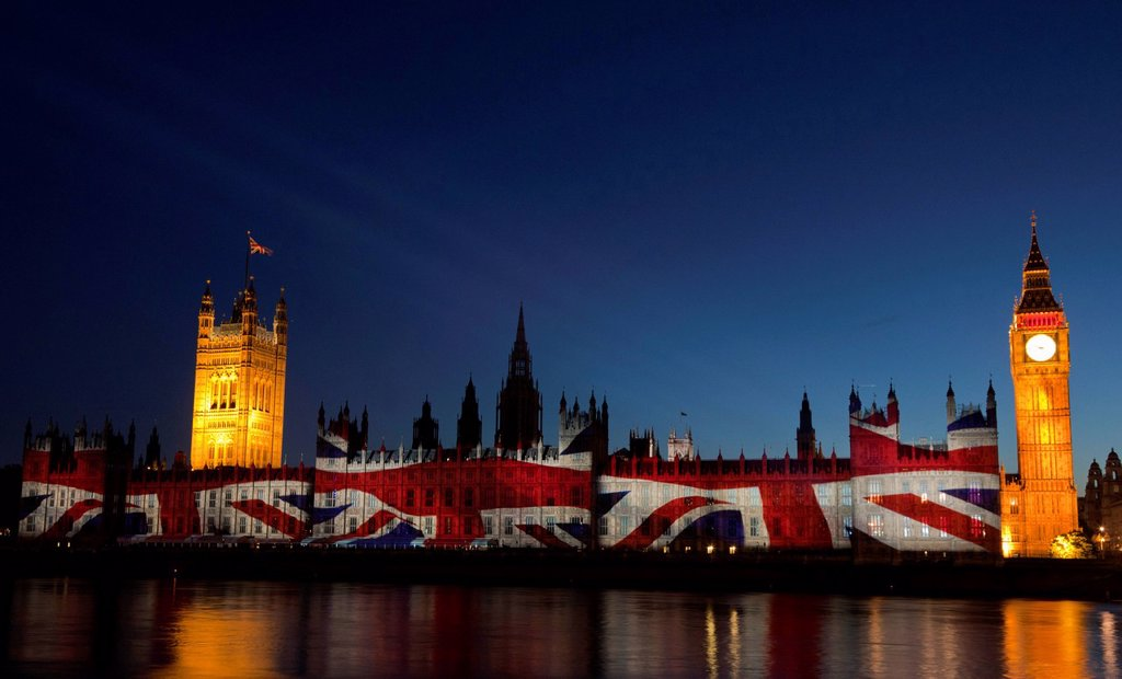 Stock Photo: 1848-731190 A giant image displaying the Union Flag is projected onto the facade of the Houses of Parliament for the Olympic and Paralympic Games 2012, London, England, United Kingdom, Europe