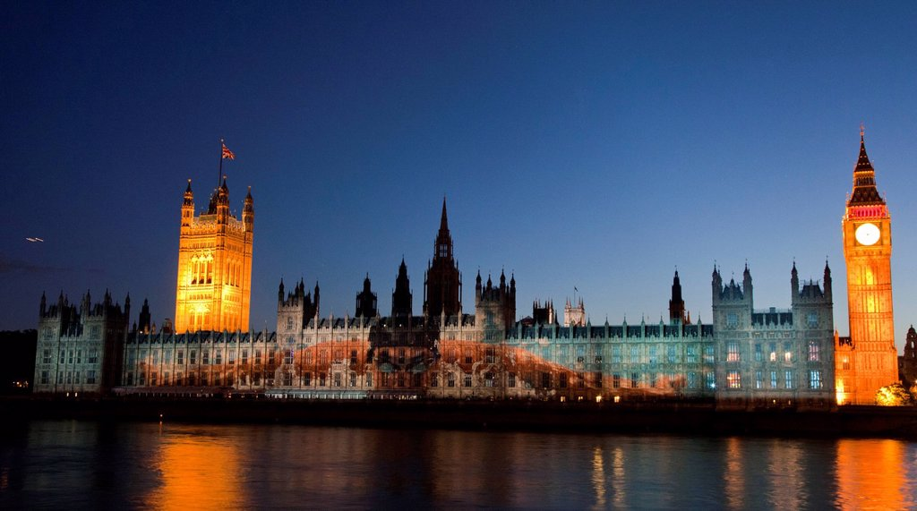 Stock Photo: 1848-731194 A giant image of US American swimmer Michael Phelps is projected onto the facade of the Houses of Parliament for the Olympic and Paralympic Games 2012, London, England, United Kingdom, Europe