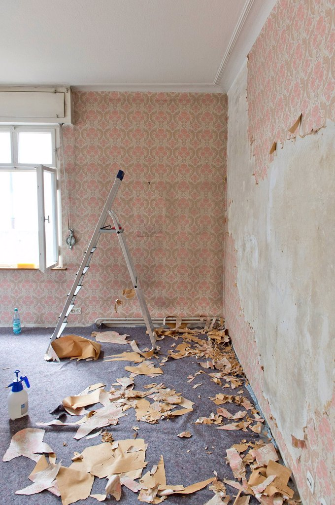 Stock Photo: 1848-731350 Room in an old building being renovated, old wallpaper from the sixties being removed, Stuttgart, Baden_Wuerttemberg, Germany, Europe