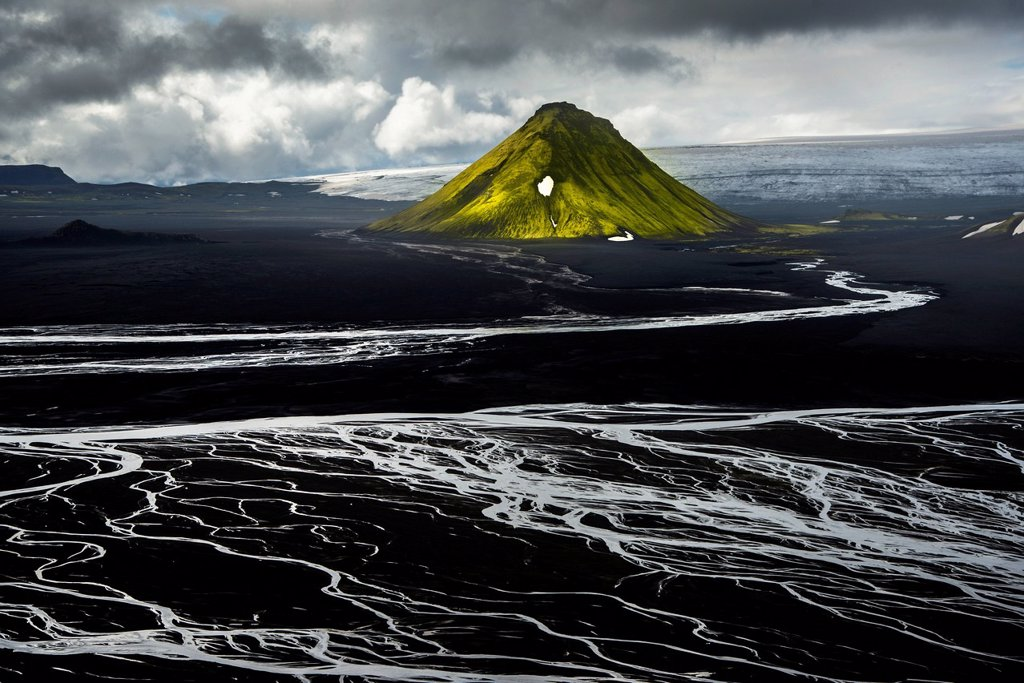 Stock Photo: 1848-731455 Aerial view, moss_covered Mælifell Mountain, black sand of Mælifellssandur Desert, sandur outwash plain, Icelandic Highlands, Iceland, Europe
