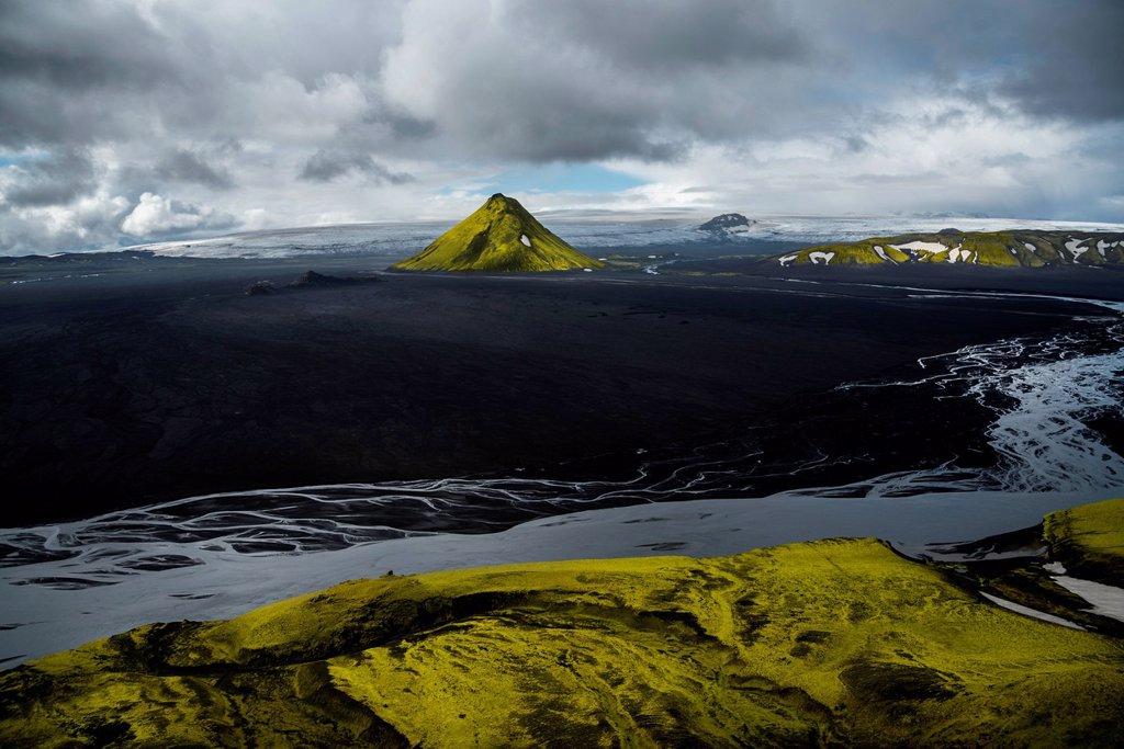Aerial view, moss_covered Mælifell Mountain, black sand of Mælifellssandur Desert, Icelandic Highlands, Iceland, Europe : Stock Photo