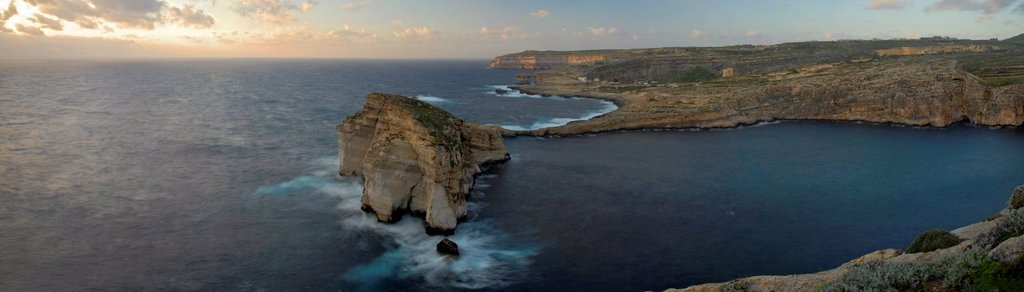Rock in the Mediterranean Sea at the west coast of Gozo, Malta, Europe : Stock Photo