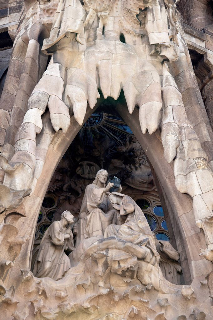 Stock Photo: 1848-732010 Nativity scene, Mercy Portal on the east façade, church of La Sagrada Familia by Antoni Gaudi, Barcelona, Catalonia, Spain, Europe, PublicGround