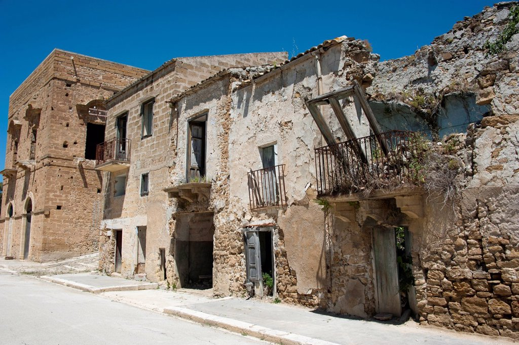 Ruins, destroyed by earthquake, ghost town, Poggioreale, Province of Trapani, Sicily, Italy, Europe : Stock Photo