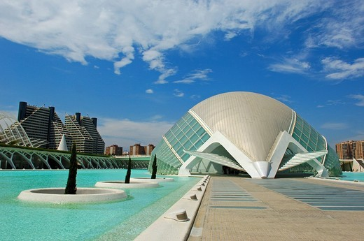 L´Hemisferic, by S. Calatrava, City of Arts and Sciences, Comunidad Valenciana, Valencia, Spain, Europe : Stock Photo