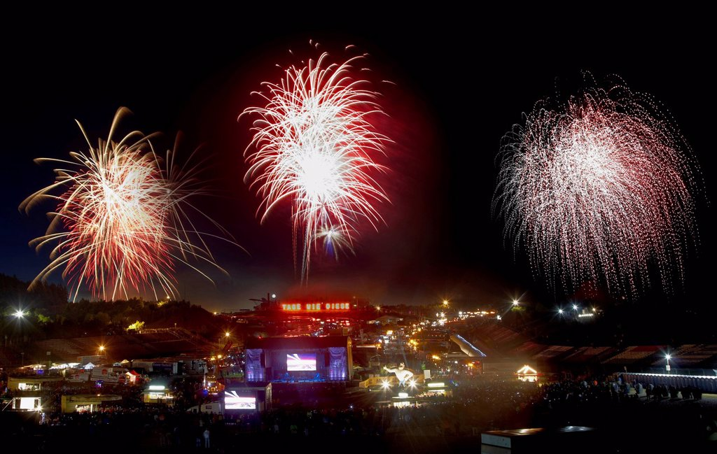 Stock Photo: 1848-732226 Fireworks at the Truck Grand Prix 2012, Nuerburgring, Rhineland_Palatinate, Germany, Europe