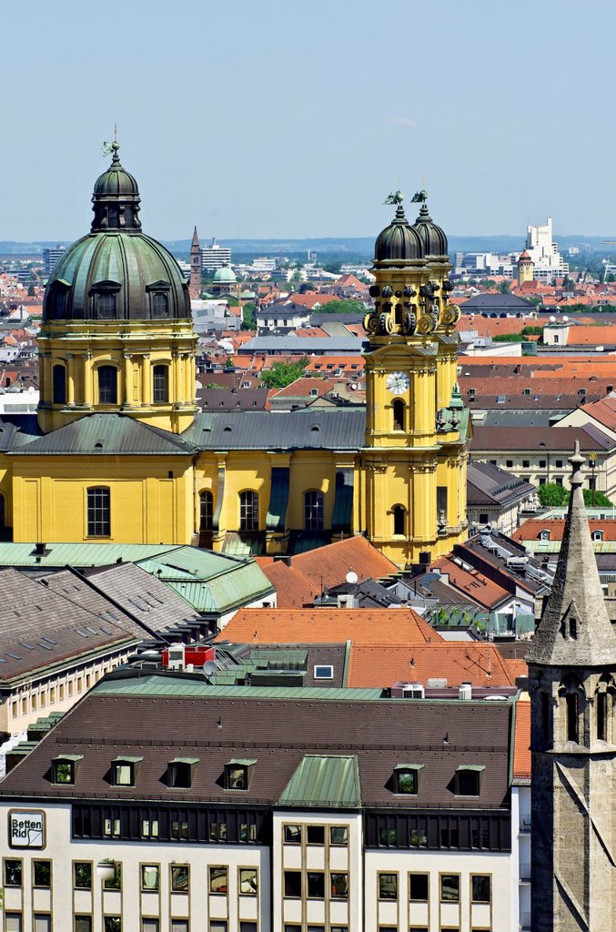 Stock Photo: 1848-732558 View from St. Peter´s Church, Alter Peter, over the roofs of Munich with the Theatine Church, Theatinerkirche, Munich, Upper Bavaria, Bavaria, Germany, Europe