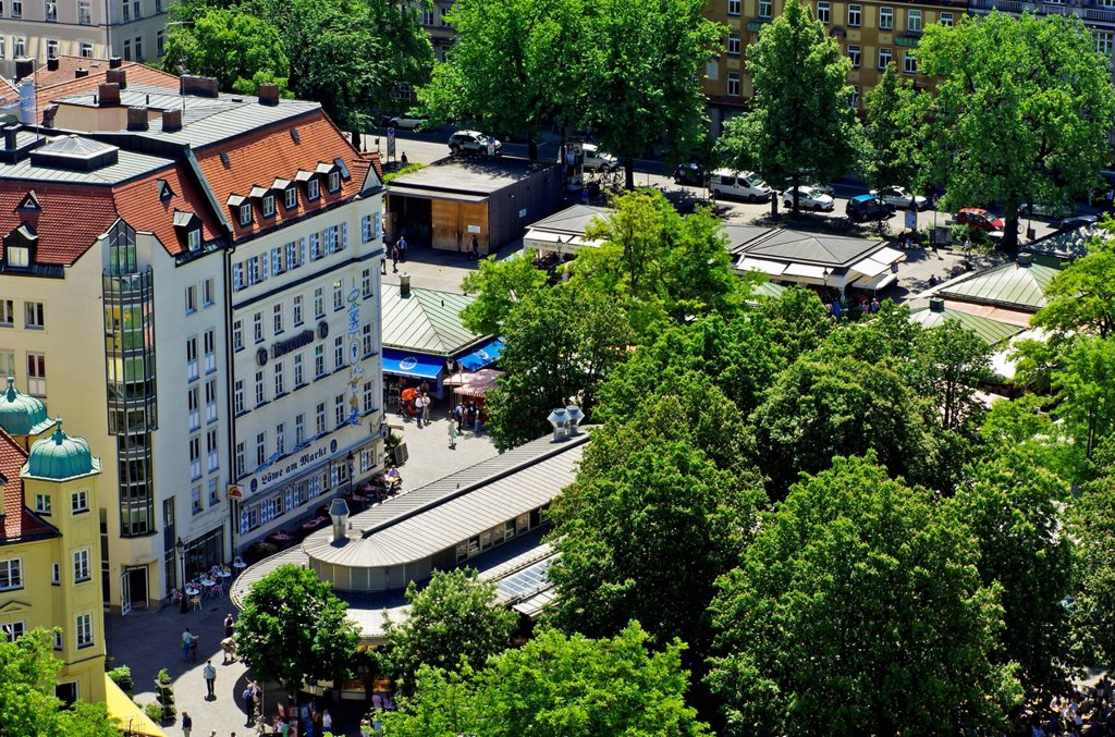 Stock Photo: 1848-732562 View from St Peter´s Church, Alter Peter, to Viktualienmarkt, food market and square, Munich, Upper Bavaria, Bavaria, Germany, Europe