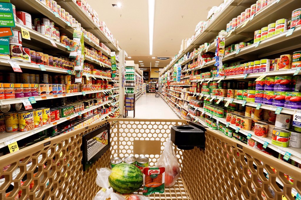 Shelves with goods, shopping at the supermarket, USA : Stock Photo