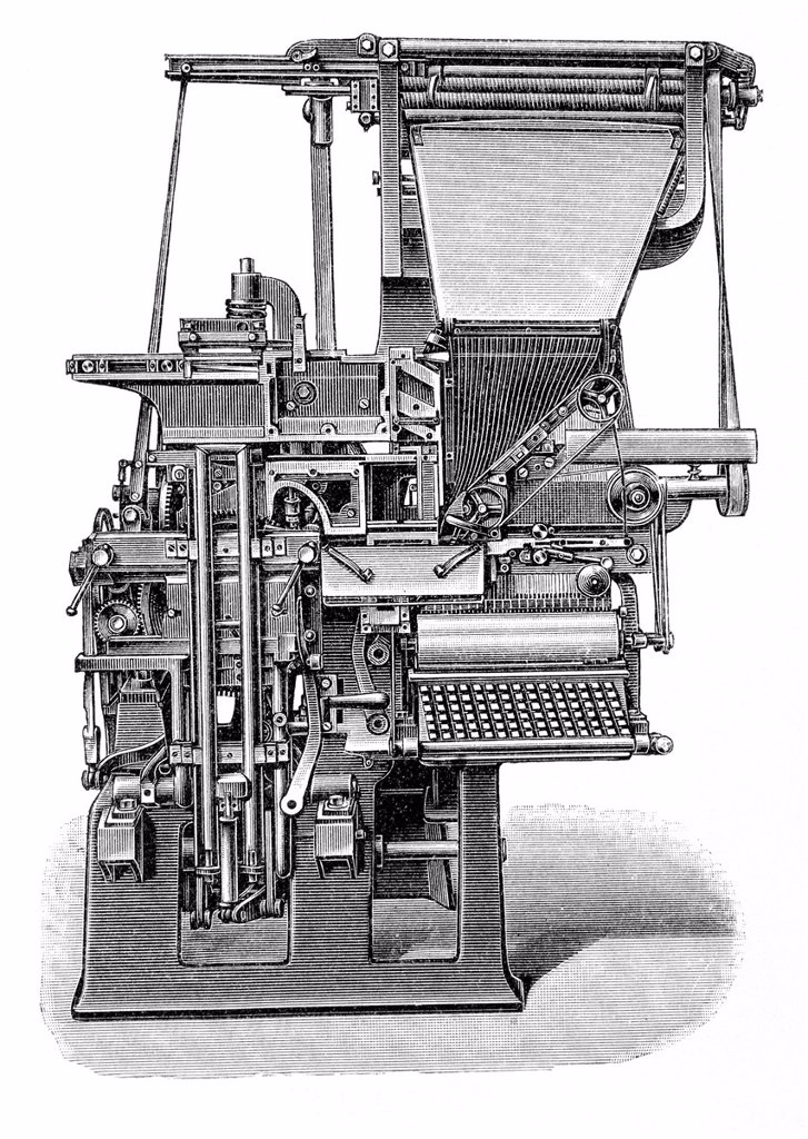 Stock Photo: 1848-732912 Linotype machine, historical illustration, Meyers Konversations_Lexikon encyclopedia, 1897