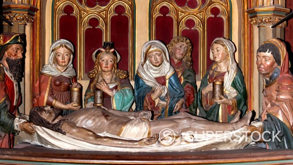 14th Station of the Cross, Burial of Christ, larger than life, fully three_dimensional sculptural group by the Utrecht artist Wilhelm Mengelberg, 19th Century, Koelner Dom, Cologne Cathedral, Cologne, North Rhine_Westphalia, Germany, Europe : Stock Photo