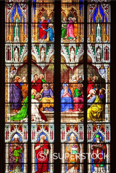 Stock Photo: 1848-733026 Bavarian window, outpouring of the Holy Spirit, Pentecost window with Mary, Peter and Paul, given by the Bavarian King Ludwig I, at bottom the four Latin church fathers Ambrose, Gregory, Jerome and Augustine, coloured stained glass window in Koelner Dom,. Bavarian window, outpouring of the Holy Spirit, Pentecost window with Mary, Peter and Paul, given by the Bavarian King Ludwig I, at bottom the four Latin church fathers Ambrose, Gregory, Jerome and Augustine, coloured stained glass window in Ko