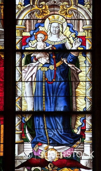 Stock Photo: 1848-733028 Epiphany window, Mary, Mother of God, coloured stained glass window in Koelner Dom, Cologne Cathedral, Cologne, North Rhine_Westphalia, Germany, Europe