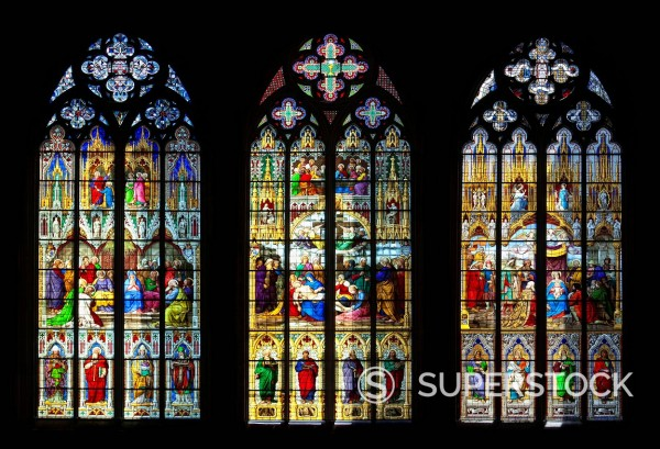 Stock Photo: 1848-733033 Bavarian windows, given by the Bavarian King Ludwig I, windows from left: Pentecost, Lamentation of Christ, Worship, 1846, coloured stained glass window in Koelner Dom, Cologne Cathedral, Cologne, North Rhine_Westphalia, Germany, Europe