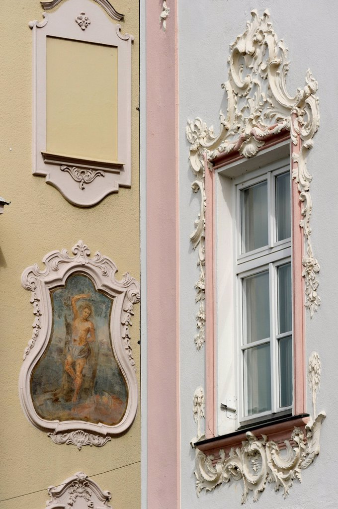 Stock Photo: 1848-733160 Fresco and stucco work on facades, Straubing, Lower Bavaria, Bavaria, Germany, Europe, PublicGround