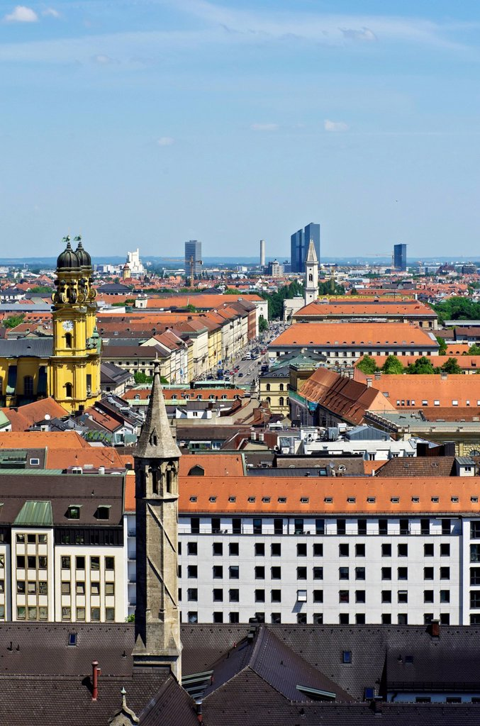 View over the roofs of Munich as seen from the steeple of the Church of St. Peter, Theatinerkirche church on the left, Munich, Upper Bavaria, Bavaria, Germany, Europe : Stock Photo