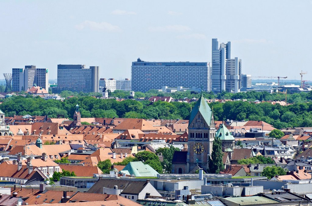 View over the roofs of Munich as seen from the steeple of the Church of St. Peter, a complex of buildings on Effnerplatz square at the back, Munich, Bavaria, Germany, Europe : Stock Photo