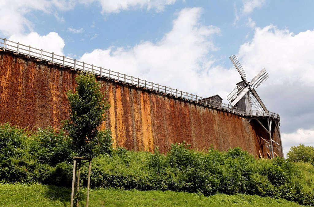 New salt works with Koker windmill, Bad Rothenfelde, Osnabruecker Land region, Lower Saxony, Germany, Europe : Stock Photo