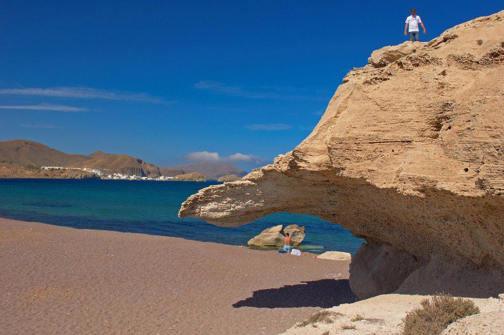 Stock Photo: 1848-733369 Cabo de Gata, Los Escullos, Playa del Arco, El Arco Beach, Isleta del Moro, Cabo de Gata_Nijar Natural Park, Almeria, Andalusia, Spain, Europe