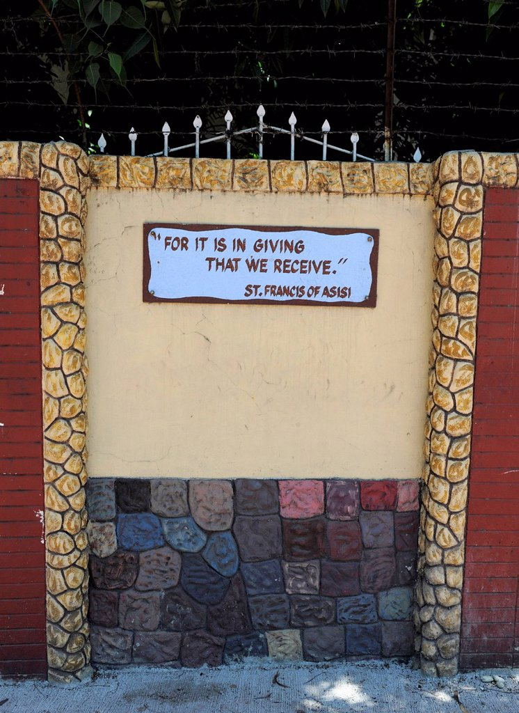 Bible verse on a wall, Cebu, Philippines, Southeast Asia, Asia : Stock Photo