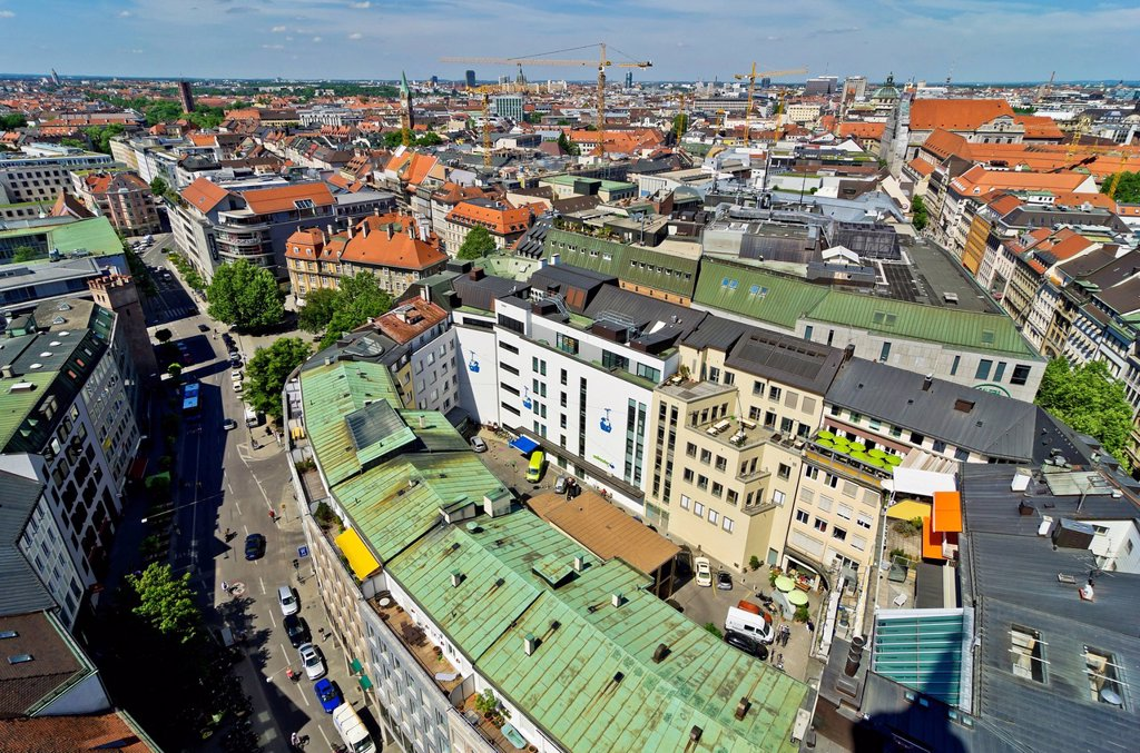 Stock Photo: 1848-733514 View from St. Peter´s Church, Alter Peter, on the roofs of Munich, Upper Bavaria, Bavaria, Germany, Europe