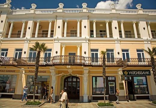 Promenade and Boardwalk with Old Building of Hotel Oreanda, Jalta, Crimea, Ukraine, South_Easteurope, Europe, : Stock Photo