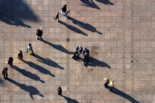 People and shadows, Muensterplatz, Ulm, Baden_Wuettemberg, Germany : Stock Photo