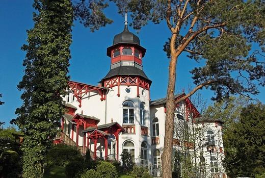 Architecture in Zinnowitz, Usedom island, Mecklenburg Western Pomerania, Germany, Europe : Stock Photo