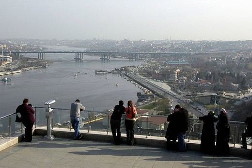 Eyuep lookout onto Golden Horn, Cafe Pierre Loti, Istanbul, Turkey : Stock Photo