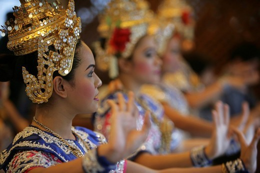 THA Thailand Bangkok Temple dancers at the Erawan Shrine. , : Stock Photo