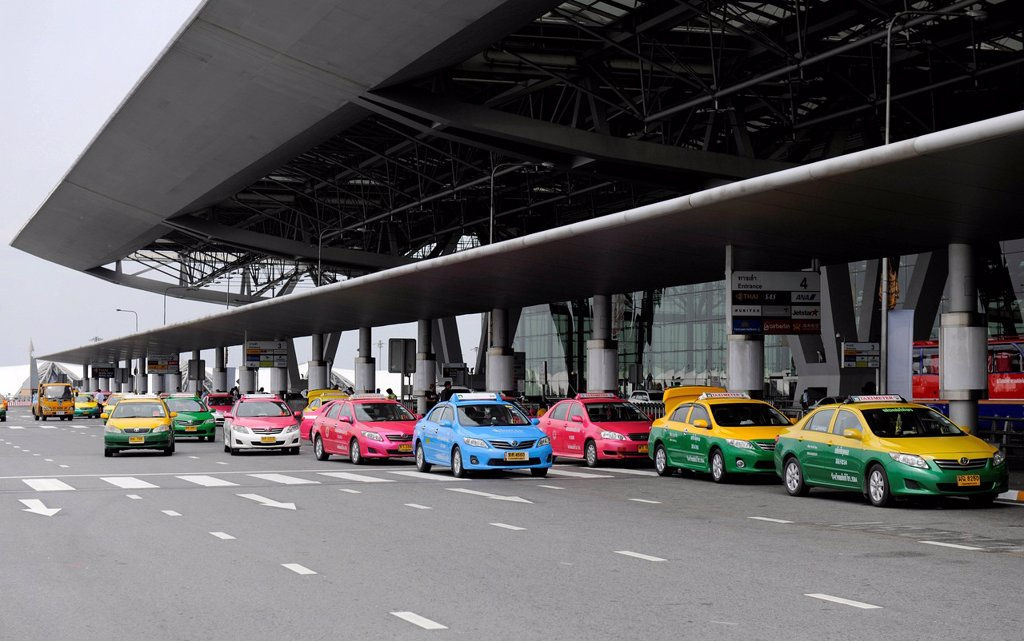 Stock Photo: 1848-740876 Colourful taxis at the airport of Bangkok, Thailand, Asia