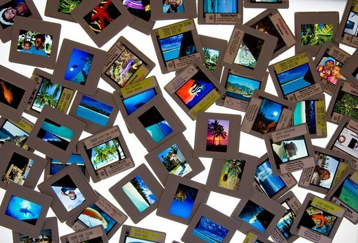 Slides laid out on a light_table, lightbox : Stock Photo
