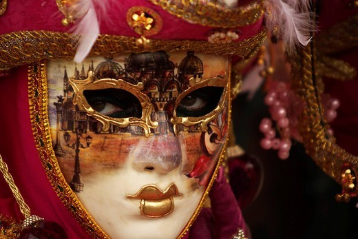 Masked person during Carnival in Venice, Italy, Europe : Stock Photo
