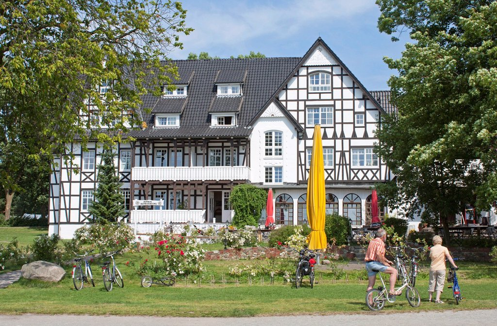 Stock Photo: 1848-741133 Half_timbered house, parish of Kloster, Hiddensee Island, Mecklenburg_Western Pomerania, Germany, Europe