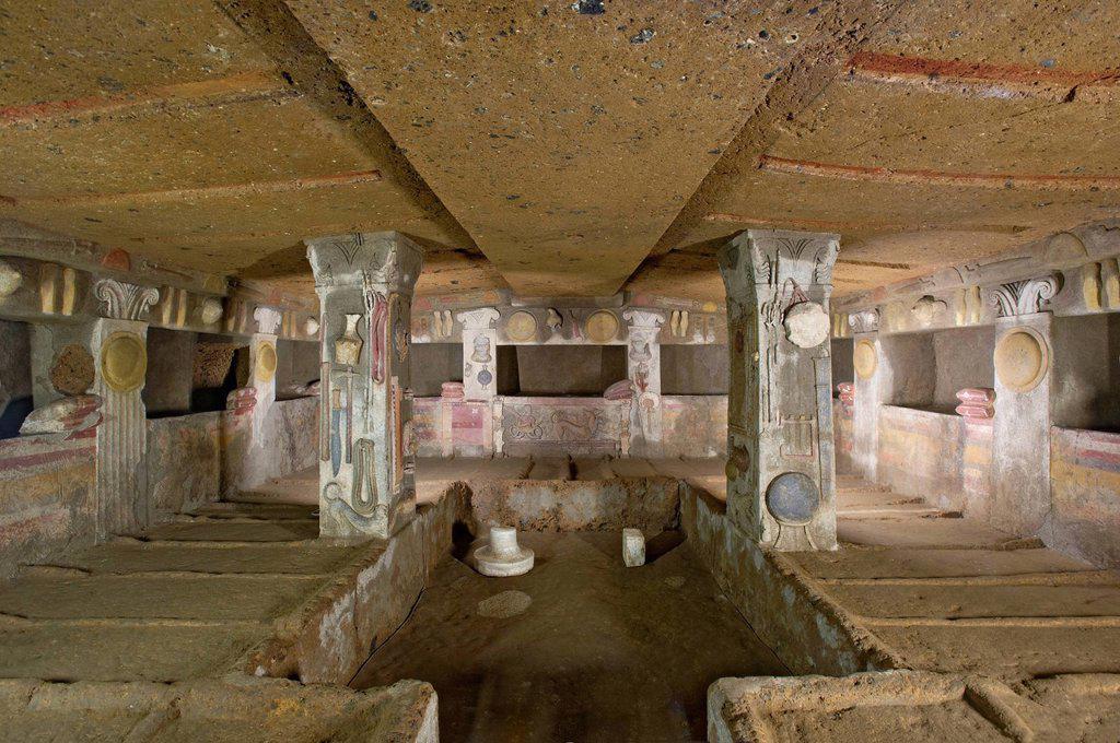 Stock Photo: 1848-741280 Chamber tomb, Tomba dei Rilievi, Etruscan Necropolis of La Banditaccia, Necropoli della Banditaccia, Cerveteri, province of Rome, Lazio region, Italy, Europe